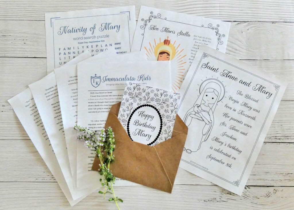 Immaculata Kids Monthly Letter Subscription Spread Nativity of Mary