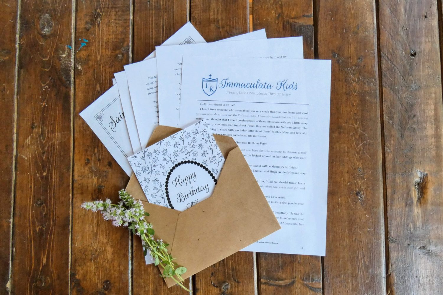 Immaculata Kids Monthly Letter Subscription